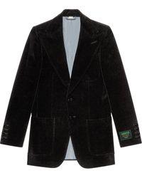 Gucci ベルベット シングルジャケット - ブラック