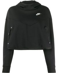 Nike Tech Fleece Cropped Hoodie - Black