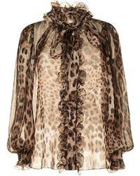 Dolce & Gabbana Leopard-print Silk Shirt - Brown
