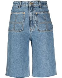 Sandro - Jeans-Shorts mit geradem Bein - Lyst