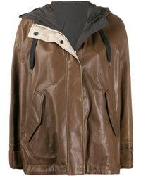 Brunello Cucinelli Двусторонняя Куртка С Капюшоном - Коричневый