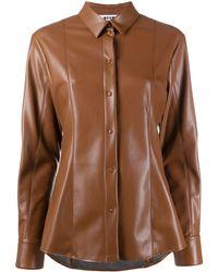 MSGM Рубашка Из Искусственной Кожи - Коричневый