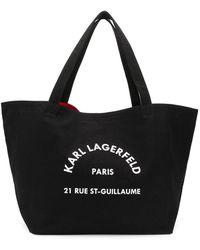 Karl Lagerfeld ロゴ ハンドバッグ - ブラック