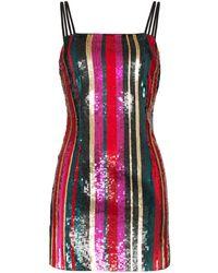 Haney Elektra Sequin Stripe Mini Dress - Red