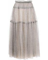 ODEEH Falda de tul con lunares estampados - Multicolor