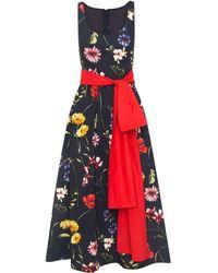 Oscar de la Renta Bow-detail Floral-print Midi Dress - Red