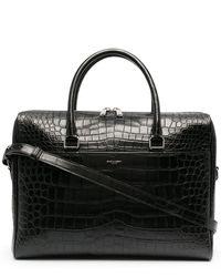 Saint Laurent Crocodile-effect Leather Briefcase - Black