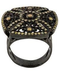 Loree Rodkin - 18kt Black Gold And Diamond Square Ring - Lyst