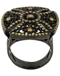 Loree Rodkin - 18kt Black Gold And Diamond Square Ring - Lyst