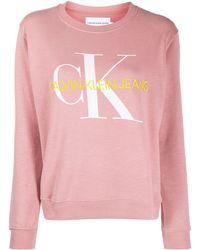 Calvin Klein Толстовка С Круглым Вырезом И Вышитым Логотипом - Розовый