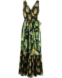 Twin Set Pineapple Print Flared Dress - Black