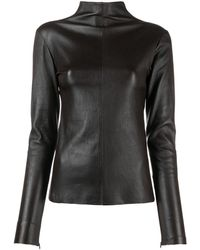 Manokhi Turtle Neck Long-sleeved Leather Top - Brown