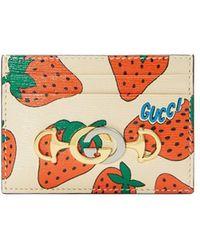 Gucci - オフホワイト ズゥミ ストロベリー カード ホルダー - Lyst