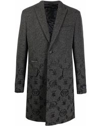 Philipp Plein Жаккардовое Пальто С Монограммой - Серый
