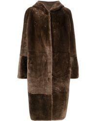 Liska Manteau en peau lainée à capuche - Marron