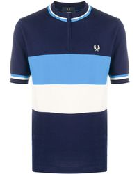 Fred Perry ストライプ ノーカラー ポロシャツ - ブルー
