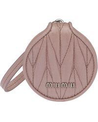 Miu Miu Matelassé Mirror Keyring - Pink
