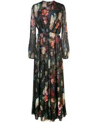 Adam Lippes フローラル ロングドレス - ブラック