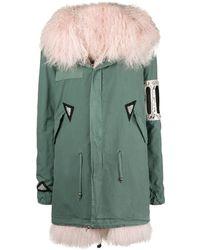 Mr & Mrs Italy Crystal embellished parka coat - Vert