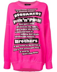 DSquared² - Oversized Slogan Print Sweatshirt - Lyst