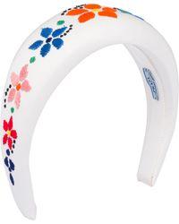 Prada Floral-embroidered Headband - White