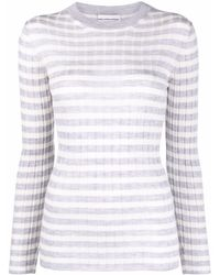 Mila Schon Ribbed-knit Striped Jumper Top - Grey
