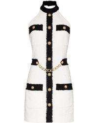 Balmain Tweed Halterneck Dress - Белый