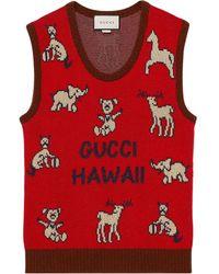 Gucci Logo-intarsia Sweater Vest - Red