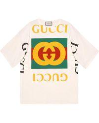 Gucci - Camiseta Extragrande con Logo - Lyst