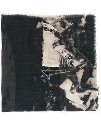Rick Owens Drkshdw Graphic-print Frayed Scarf - Blue