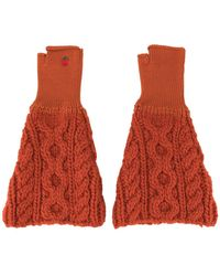 Undercover Cable Knit Gloves - Red