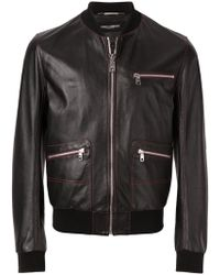 Dolce & Gabbana - Contrast Stitched Leather Bomber Jacket - Lyst