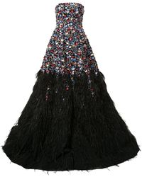 Saiid Kobeisy Feather-embellished Strapless Gown - Black