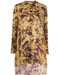 L'Autre Chose Floral-print Flared Shirt - Purple
