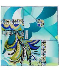 Emilio Pucci Acapulco Print Silk Square Scarf - Blue