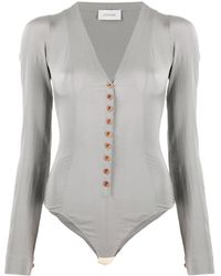 Lemaire Long-sleeve Silk Bodysuit - Grey
