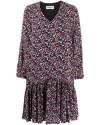 Essentiel Antwerp Floral Ruffled Hem Dress - Black