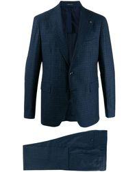 Tagliatore Karierter Anzug - Blau