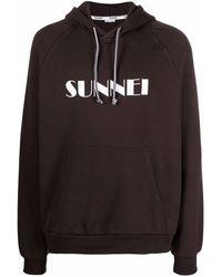 Sunnei Logo-print Hoodie - Brown