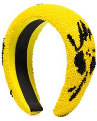 Ganni Perlenhaarreif mit Blume - Gelb