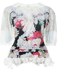 Comme des Garçons Floral Print Ruffle Hem Blouse - Meerkleurig