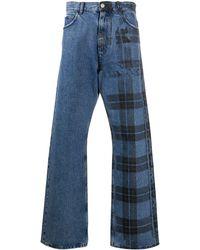 Marni チェック ワイドジーンズ - ブルー