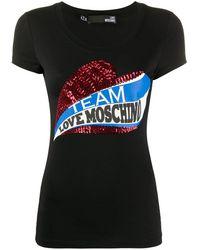 Love Moschino スパンコールロゴ Tシャツ - ブラック