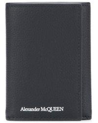 Alexander McQueen Cartera plegable con estampado del logo - Negro