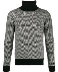 Majestic Filatures Zig-zag Turtle Neck Sweater - Black