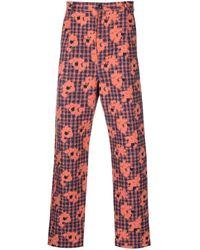 Henrik Vibskov Pantalones slim con estampado floral - Naranja
