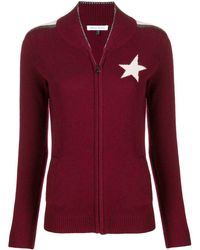 Bella Freud Star Knitted Zip Up Jacket - Red