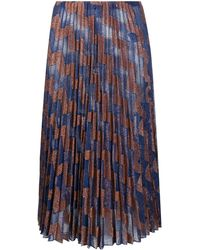 M Missoni ジグザグ プリーツ スカート - ブルー