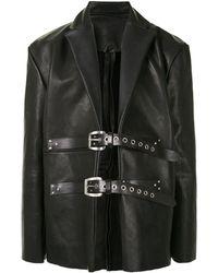 TOKYO JAMES Buckle Fastening Leather Jacket - Black