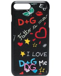 5f7440bf914d Dolce   Gabbana - Leather Iphone 7 Plus Case With Graffiti Print - Lyst